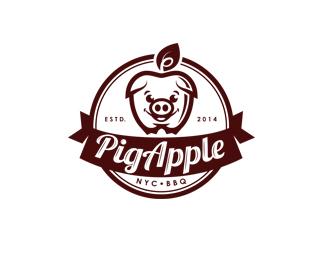 烧烤公司PigApple标志设计欣赏